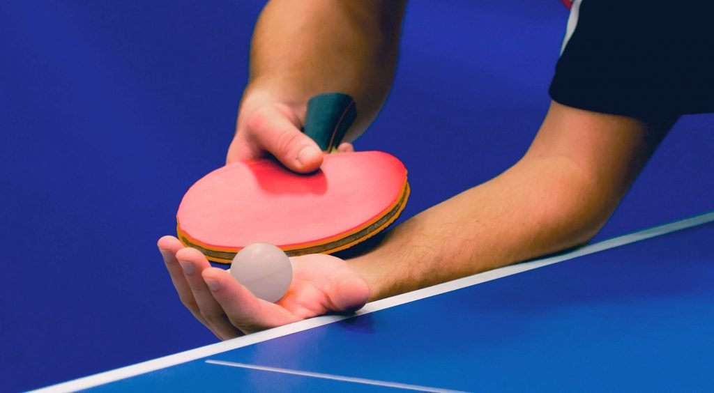 table tennis man serving